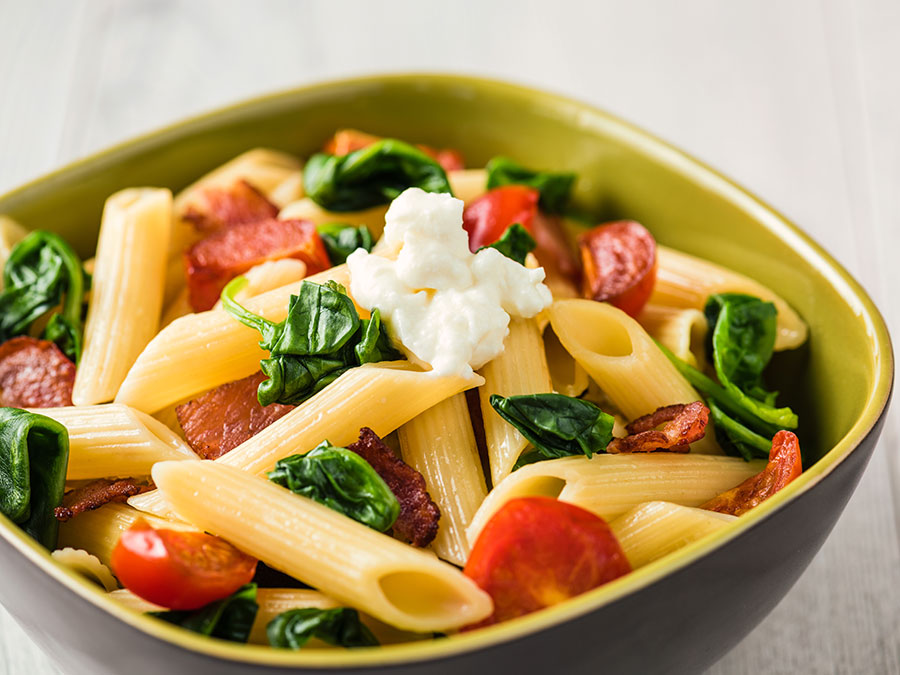 Spinach and Bacon Penne Pasta